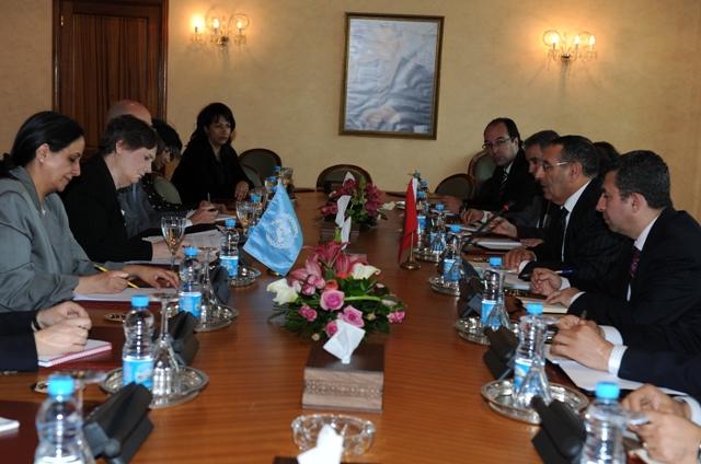 Monsieur le Ministre Délégué reçoit l'Administratrice du Programme des Nations Unies pour le Développement (PNUD), Helen clark.