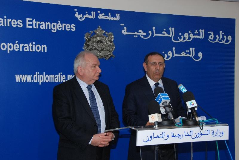 Entretien de Monsieur Youssef Amrani avec le président du groupe parlementaire du Parti populaire européen ( PPE), Joseph Daul.