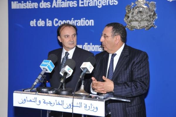 Entretien de M. Amrani  avec le Secrétaire d'Etat Espagnol à la Coopération Internationale, M.Jesús Gracia.